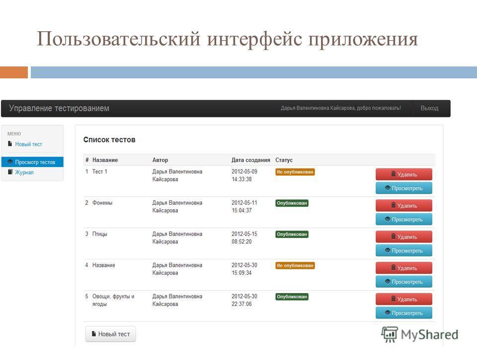 Пользовательский интерфейс приложения