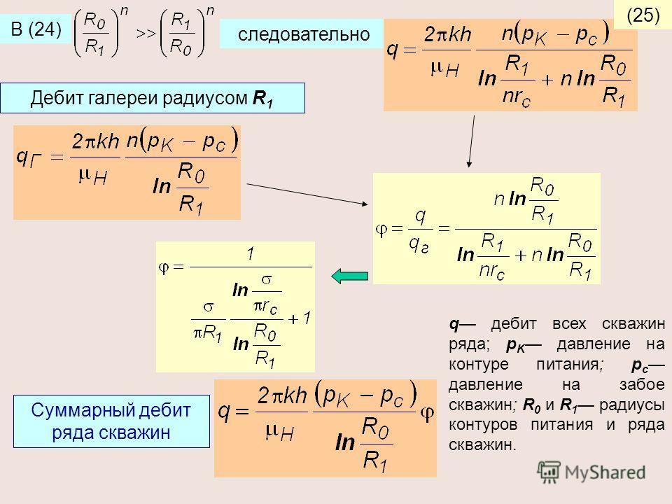 В (24) следовательно (25) Дебит галереи радиусом R 1 Суммарный дебит ряда скважин q дебит всех скважин ряда; p K давление на контуре питания; p c давление на забое скважин; R 0 и R 1 радиусы контуров питания и ряда скважин.