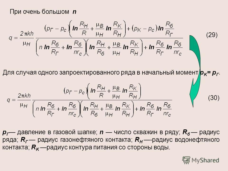 При очень большом n Для случая одного запроектированного ряда в начальный момент р K = р Г. р Г давление в газовой шапке; n число скважин в ряду; R б радиус ряда; R Г радиус газонефтяного контакта; R H -радиус водонефтяного контакта; R K радиус конту