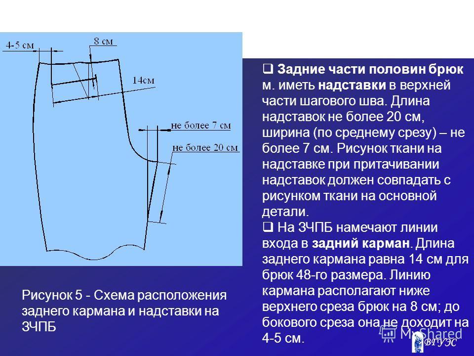 Рисунок 5 - Схема расположения заднего кармана и надставки на ЗЧПБ Задние части половин брюк м. иметь надставки в верхней части шагового шва. Длина надставок не более 20 см, ширина (по среднему срезу) – не более 7 см. Рисунок ткани на надставке при п