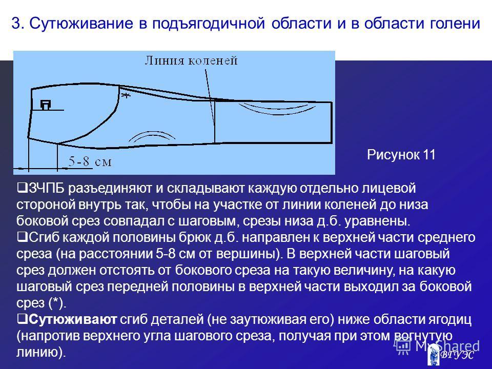 3. Сутюживание в подъягодичной области и в области голени Рисунок 11 ЗЧПБ разъединяют и складывают каждую отдельно лицевой стороной внутрь так, чтобы на участке от линии коленей до низа боковой срез совпадал с шаговым, срезы низа д.б. уравнены. Сгиб