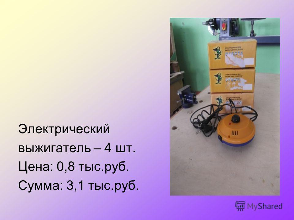 Электрический выжигатель – 4 шт. Цена: 0,8 тыс.руб. Сумма: 3,1 тыс.руб.
