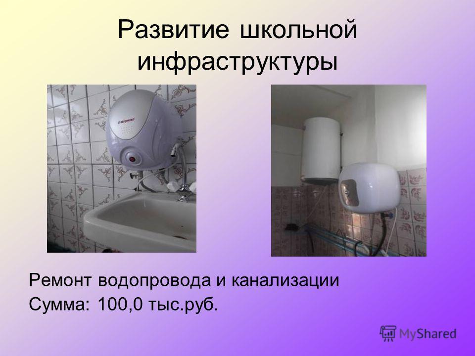 Развитие школьной инфраструктуры Ремонт водопровода и канализации Сумма: 100,0 тыс.руб.