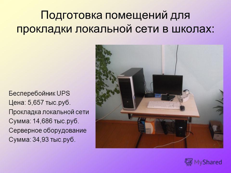 Подготовка помещений для прокладки локальной сети в школах: Бесперебойник UPS Цена: 5,657 тыс.руб. Прокладка локальной сети Сумма: 14,686 тыс.руб. Серверное оборудование Сумма: 34,93 тыс.руб.