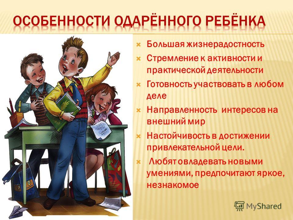 Большая жизнерадостность Стремление к активности и практической деятельности Готовность участвовать в любом деле Направленность интересов на внешний мир Настойчивость в достижении привлекательной цели. Любят овладевать новыми умениями, предпочитают я