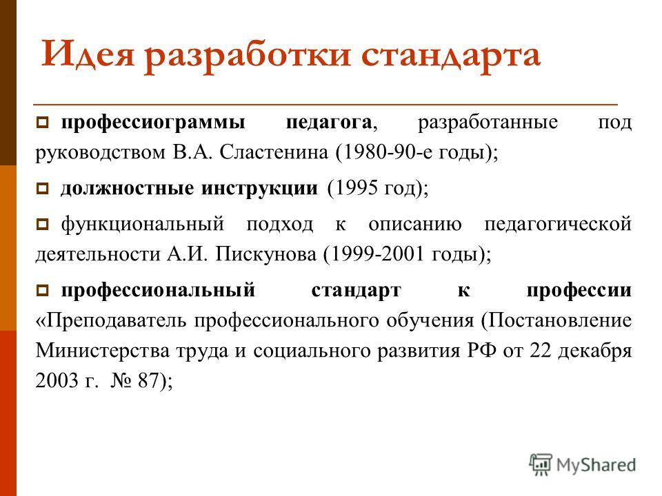 Идея разработки стандарта профессиограммы педагога, разработанные под руководством В.А. Сластенина (1980-90-е годы); должностные инструкции (1995 год); функциональный подход к описанию педагогической деятельности А.И. Пискунова (1999-2001 годы); проф