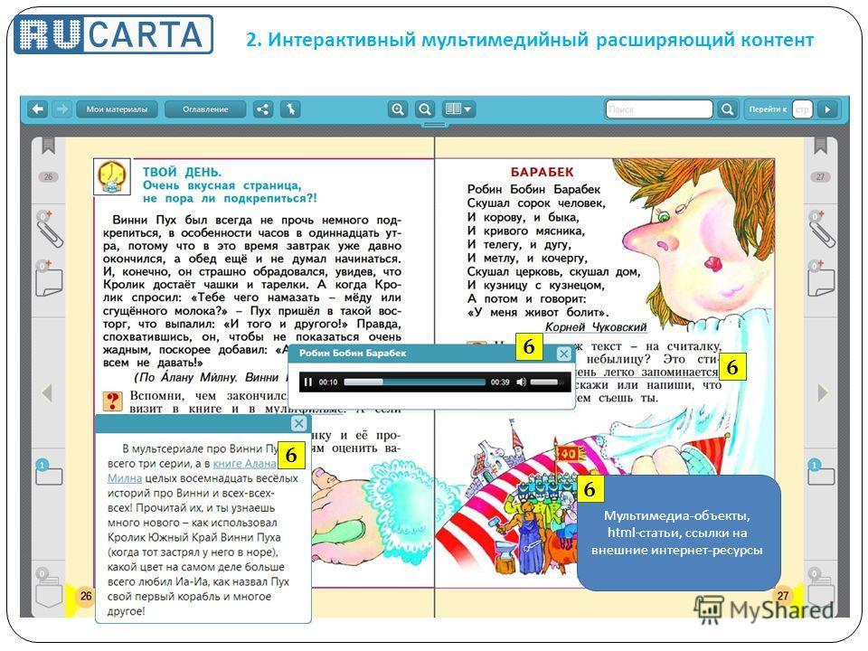 2. Интерактивный мультимедийный расширяющий контент Мультимедиа - объекты, html- статьи, ссылки на внешние интернет - ресурсы 6 6 6 6