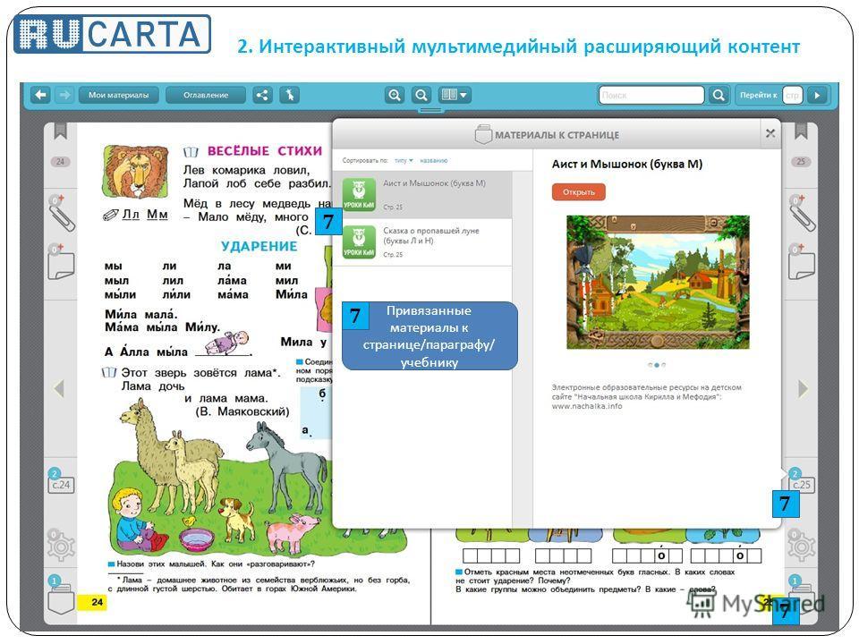 2. Интерактивный мультимедийный расширяющий контент Привязанные материалы к странице / параграфу / учебнику 7 7 7 7