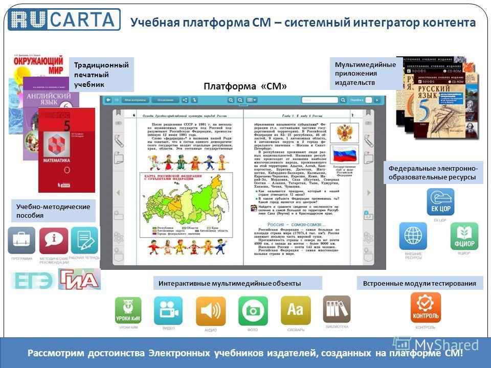 Платформа « СМ » Мультимедийные приложения издательств Федеральные электронно- образовательные ресурсы Учебная платформа СМ – системный интегратор контента Интерактивные мультимедийные объектыВстроенные модули тестирования Учебно-методические пособия