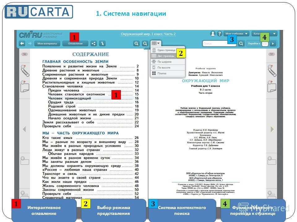 1. Система навигации Интерактивное оглавление Выбор режима представления Система контекстного поиска Функция быстрого перехода к странице 1234 1 1 2 3 4