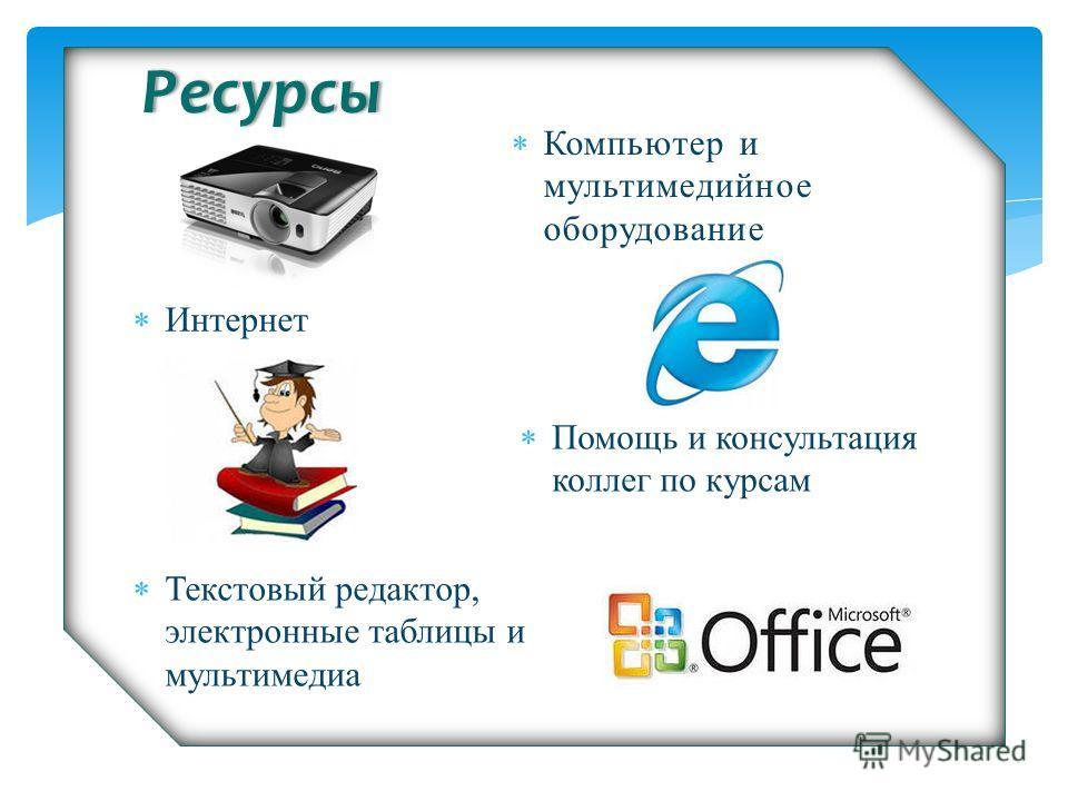 Ресурсы Интернет Помощь и консультация коллег по курсам Текстовый редактор, электронные таблицы и мультимедиа Компьютер и мультимедийное оборудование