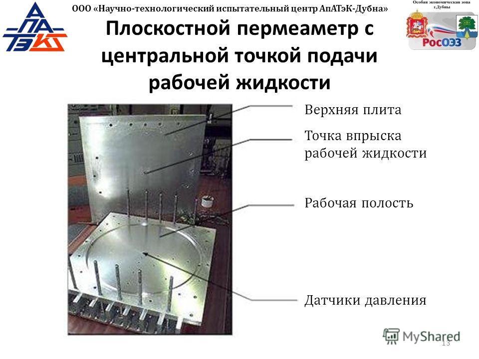 Плоскостной пермеаметр с центральной точкой подачи рабочей жидкости Верхняя плита 13 ООО «Научно-технологический испытательный центр АпАТэК-Дубна» Точка впрыска рабочей жидкости Рабочая полость Датчики давления