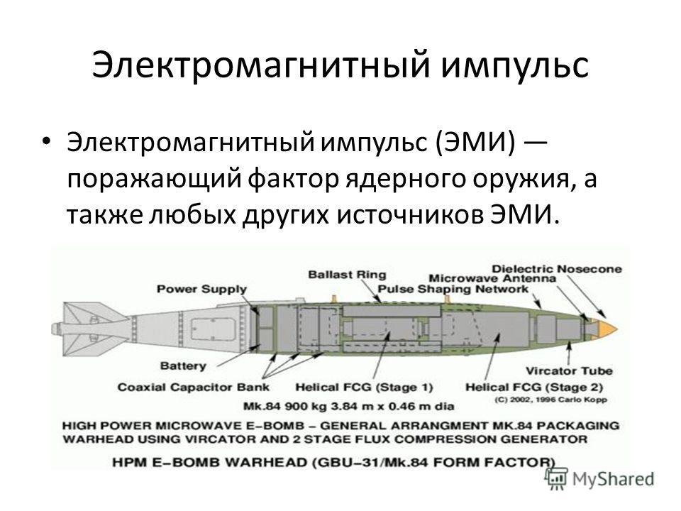 Электромагнитный импульс Электромагнитный импульс (ЭМИ) поражающий фактор ядерного оружия, а также любых других источников ЭМИ.
