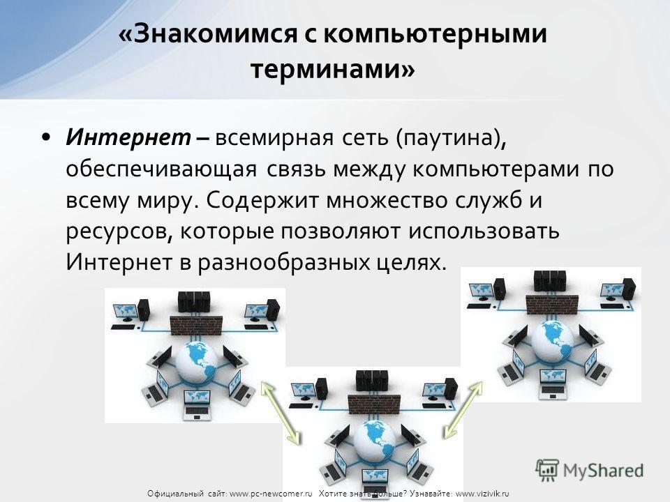Интернет – всемирная сеть (паутина), обеспечивающая связь между компьютерами по всему миру. Содержит множество служб и ресурсов, которые позволяют использовать Интернет в разнообразных целях. «Знакомимся с компьютерными терминами» Официальный сайт: w