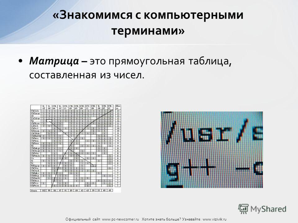 Матрица – это прямоугольная таблица, составленная из чисел. «Знакомимся с компьютерными терминами» Официальный сайт: www.pc-newcomer.ru Хотите знать больше? Узнавайте: www.vizivik.ru