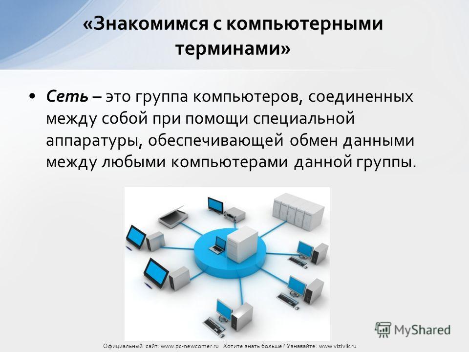 Сеть – это группа компьютеров, соединенных между собой при помощи специальной аппаратуры, обеспечивающей обмен данными между любыми компьютерами данной группы. «Знакомимся с компьютерными терминами» Официальный сайт: www.pc-newcomer.ru Хотите знать б