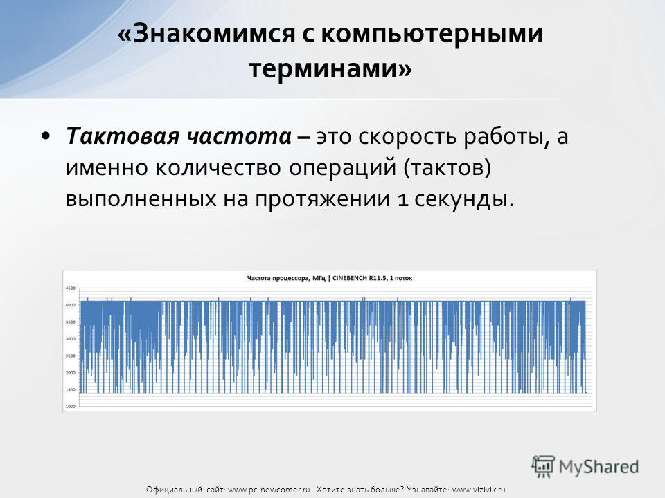 Тактовая частота – это скорость работы, а именно количество операций (тактов) выполненных на протяжении 1 секунды. «Знакомимся с компьютерными терминами» Официальный сайт: www.pc-newcomer.ru Хотите знать больше? Узнавайте: www.vizivik.ru
