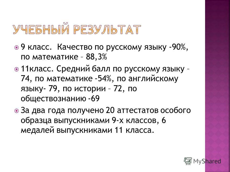 9 класс. Качество по русскому языку -90%, по математике – 88,3% 11класс. Средний балл по русскому языку – 74, по математике -54%, по английскому языку- 79, по истории – 72, по обществознанию -69 За два года получено 20 аттестатов особого образца выпу