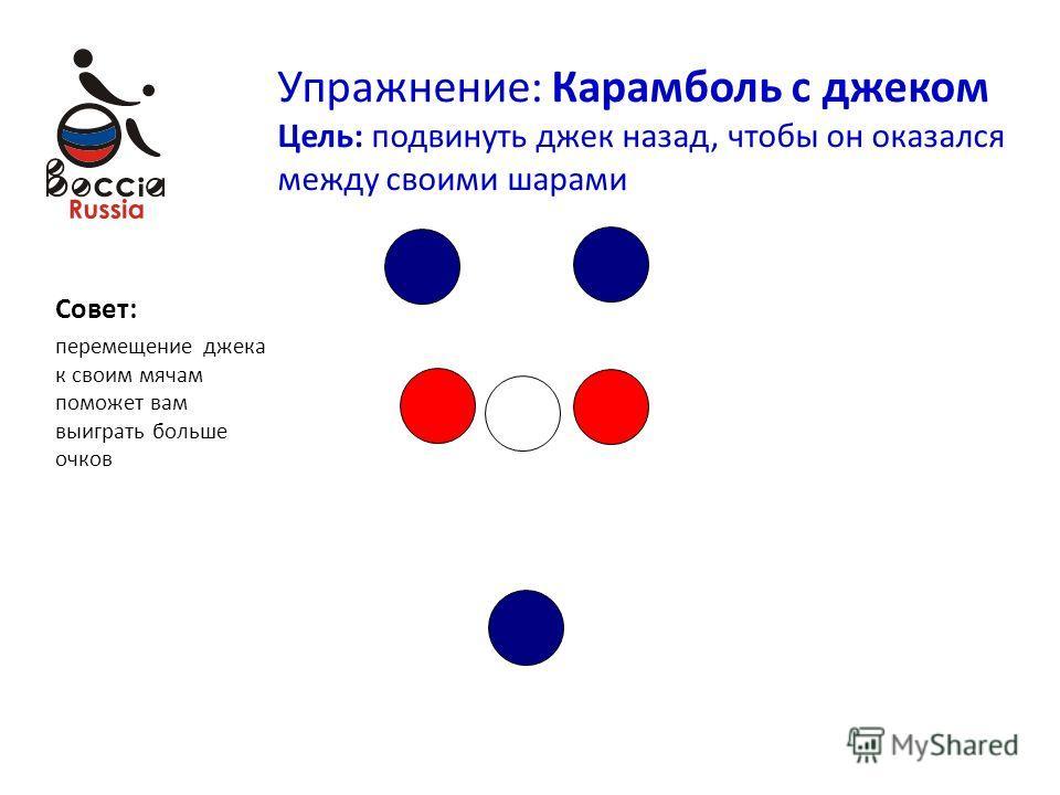 Упражнение: Карамболь с джеком Цель: подвинуть джек назад, чтобы он оказался между своими шарами Совет: перемещение джека к своим мячам поможет вам выиграть больше очков