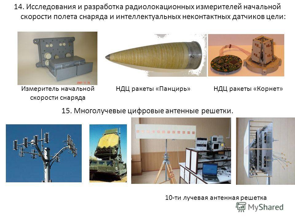 14. Исследования и разработка радиолокационных измерителей начальной скорости полета снаряда и интеллектуальных неконтактных датчиков цели: 15. Многолучевые цифровые антенные решетки. Измеритель начальной скорости снаряда НДЦ ракеты «Корнет»НДЦ ракет