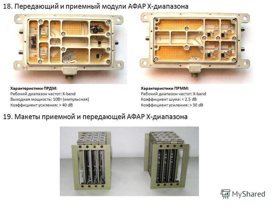 Передающий и приемный модули АФАР Х-диапазона 18. Передающий и приемный модули АФАР Х-диапазона 19. Макеты приемной и передающей АФАР Х-диапазона Характеристики ПРДМ: Рабочий диапазон частот: X-band Выходная мощность: 10Вт (импульсная) Коэффициент ус