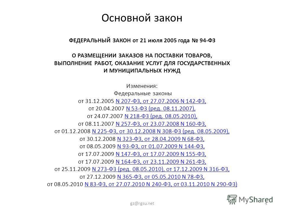 Основной закон ФЕДЕРАЛЬНЫЙ ЗАКОН от 21 июля 2005 года 94-ФЗ О РАЗМЕЩЕНИИ ЗАКАЗОВ НА ПОСТАВКИ ТОВАРОВ, ВЫПОЛНЕНИЕ РАБОТ, ОКАЗАНИЕ УСЛУГ ДЛЯ ГОСУДАРСТВЕННЫХ И МУНИЦИПАЛЬНЫХ НУЖД Изменения: Федеральные законы от 31.12.2005 N 207-ФЗ, от 27.07.2006 N 142-