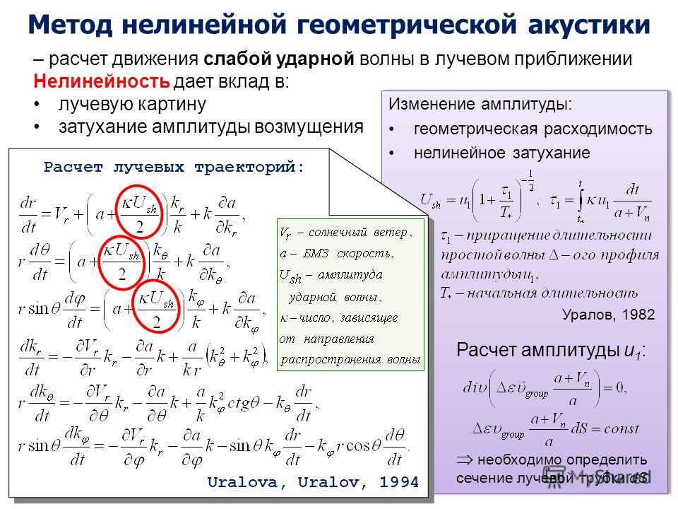 Изменение амплитуды: геометрическая расходимость нелинейное затухание Расчет амплитуды u 1 : необходимо определить сечение лучевой трубки dS Изменение амплитуды: геометрическая расходимость нелинейное затухание Расчет амплитуды u 1 : необходимо опред