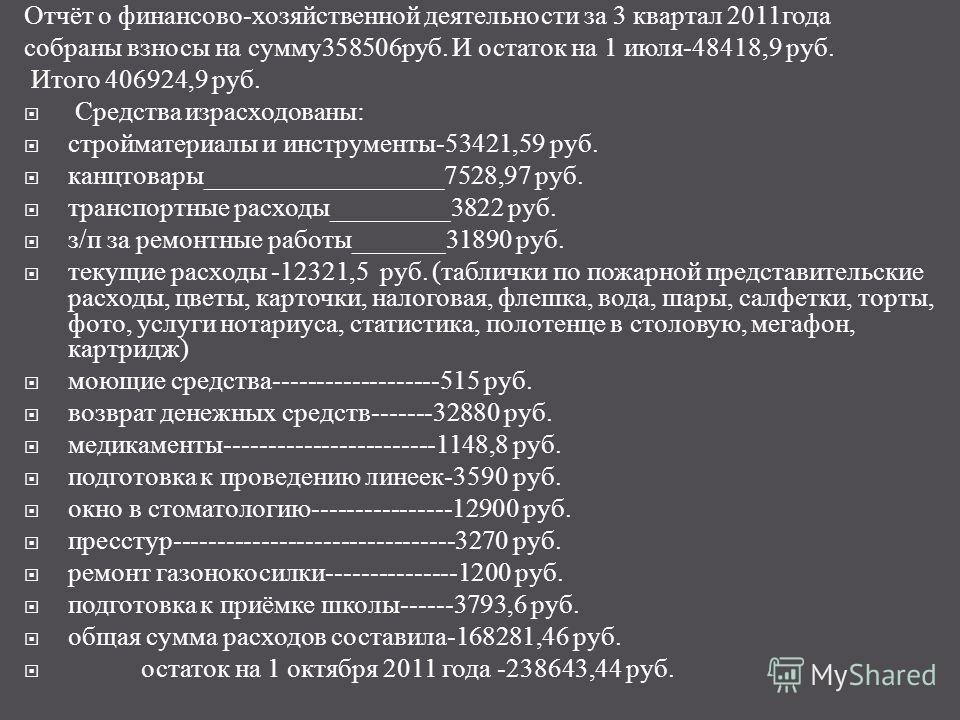 Отчёт о финансово - хозяйственной деятельности за 3 квартал 2011 года собраны взносы на сумму 358506 руб. И остаток на 1 июля -48418,9 руб. Итого 406924,9 руб. Средства израсходованы : стройматериалы и инструменты -53421,59 руб. канцтовары __________