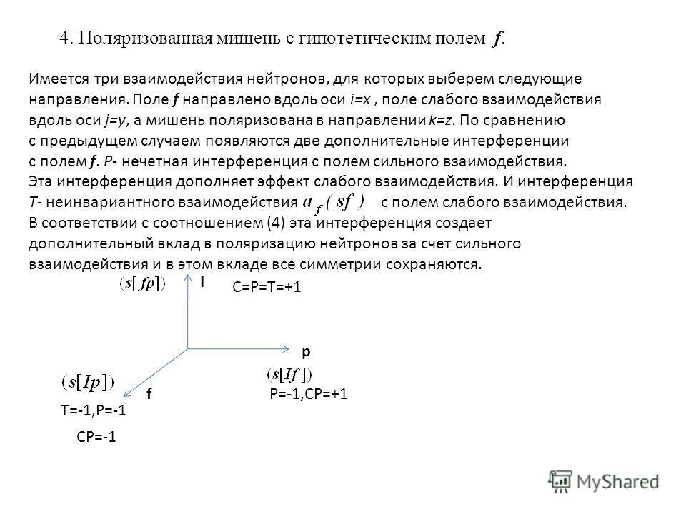 4. Поляризованная мишень с гипотетическим полем f. Имеется три взаимодействия нейтронов, для которых выберем следующие направления. Поле f направлено вдоль оси i=x, поле слабого взаимодействия вдоль оси j=y, а мишень поляризована в направлении k=z. П