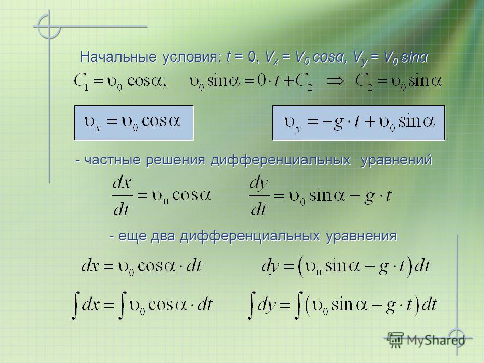 Начальные условия: t = 0, V x = V 0 cosα, V y = V 0 sinα - частные решения дифференциальных уравнений - еще два дифференциальных уравнения
