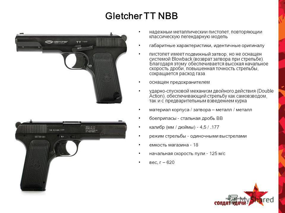 надежный металлический пистолет, повторяющий классическую легендарную модель габаритные характеристики, идентичные оригиналу пистолет имеет подвижный затвор, но не оснащен системой Blowback (возврат затвора при стрельбе). Благодаря этому обеспечивает