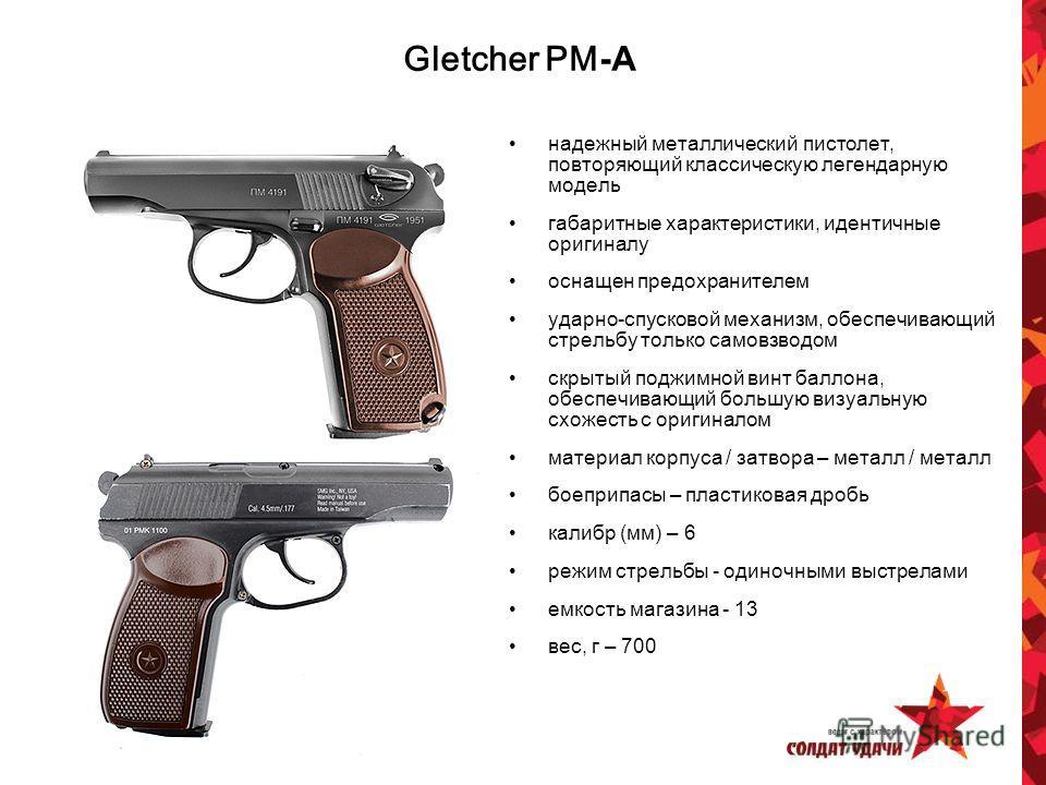 Gletcher PM -А надежный металлический пистолет, повторяющий классическую легендарную модель габаритные характеристики, идентичные оригиналу оснащен предохранителем ударно-спусковой механизм, обеспечивающий стрельбу только самовзводом скрытый поджимно