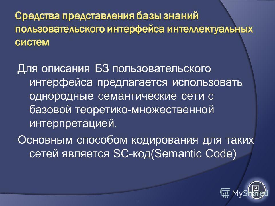 Для описания БЗ пользовательского интерфейса предлагается использовать однородные семантические сети с базовой теоретико-множественной интерпретацией. Основным способом кодирования для таких сетей является SC-код(Semantic Сode) 16
