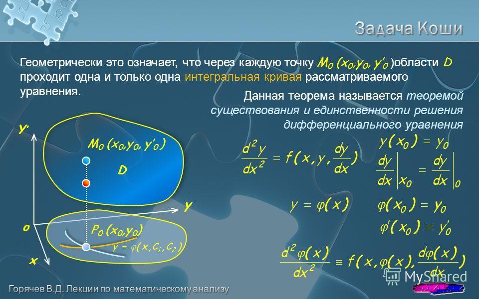 Геометрически это означает, что через каждую точку M 0 (x 0,y 0, y 0 )области D проходит одна и только одна интегральная кривая рассматриваемого уравнения. Данная теорема называется теоремой существования и единственности решения дифференциального ур