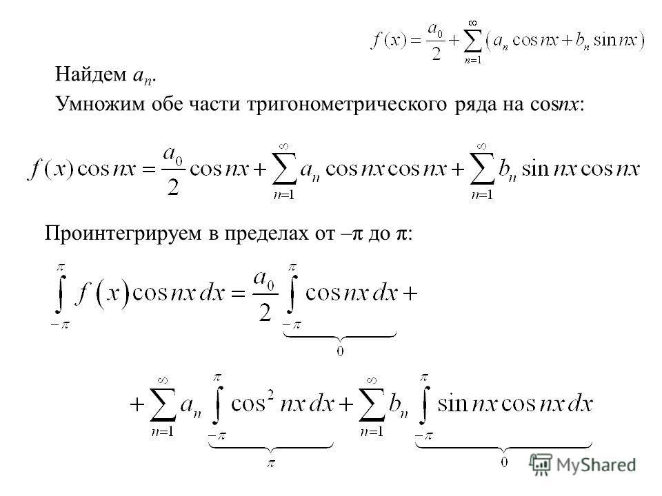 Найдем a n. Умножим обе части тригонометрического ряда на cosnx: Проинтегрируем в пределах от –π до π: