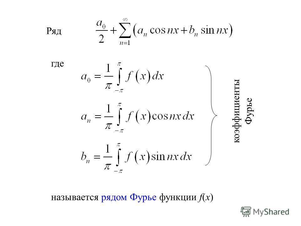 Ряд где называется рядом Фурье функции f(x) коэффициенты Фурье