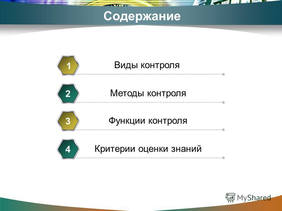 Содержание Виды контроля 1 Методы контроля 2 Функции контроля 3 Критерии оценки знаний 4