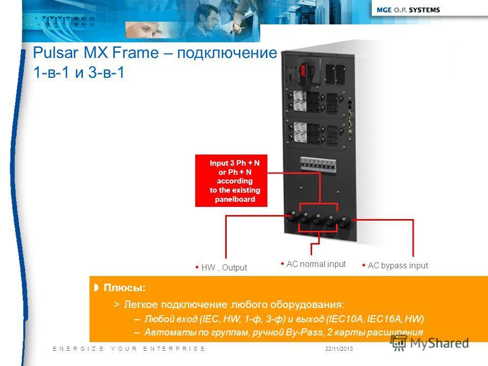 E N E R G I Z E Y O U R E N T E R P R I S E22/11/2013 Плюсы: >Легкое подключение любого оборудования: –Любой вход (IEC, HW, 1-ф, 3-ф) и выход (IEC10А, IEC16A, HW) –Автоматы по группам, ручной By-Pass, 2 карты расширения w HW, Output w AC bypass input