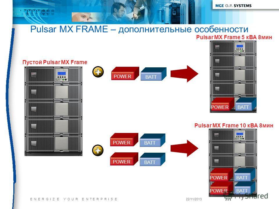 E N E R G I Z E Y O U R E N T E R P R I S E22/11/2013 Pulsar MX FRAME – дополнительные особенности Пустой Pulsar MX Frame POWER BATT POWER BATT POWER BATT Pulsar MX Frame 5 кВА 8мин Pulsar MX Frame 10 кВА 8мин POWERBATT POWERBATT POWERBATT