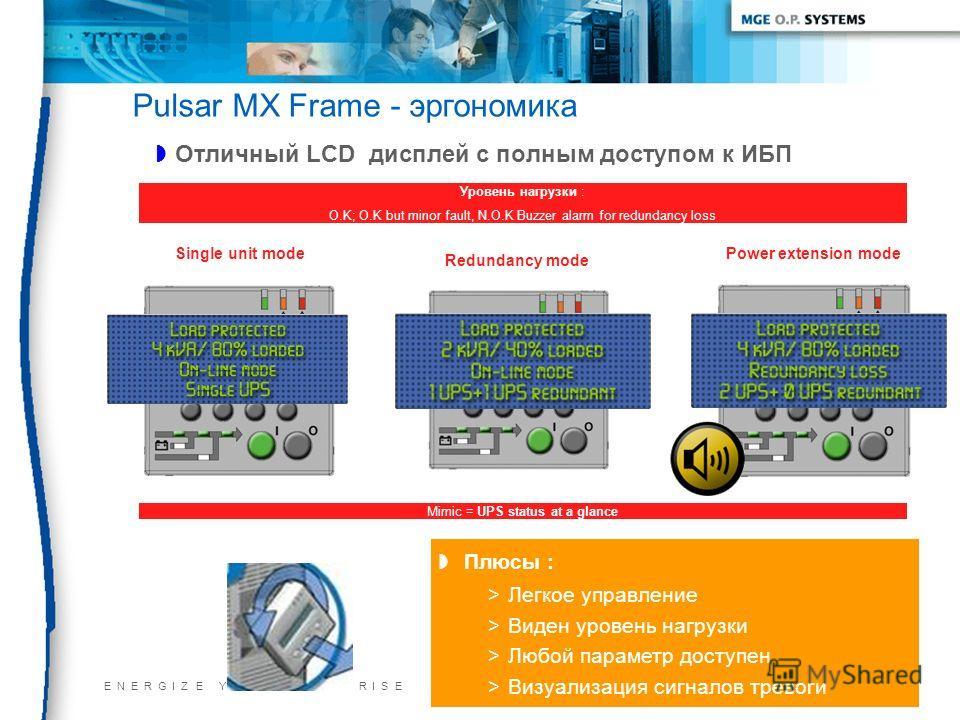 E N E R G I Z E Y O U R E N T E R P R I S E22/11/2013 Pulsar MX Frame - эргономика Отличный LCD дисплей с полным доступом к ИБП Плюсы : >Легкое управление >Виден уровень нагрузки >Любой параметр доступен >Визуализация сигналов тревоги Уровень нагрузк
