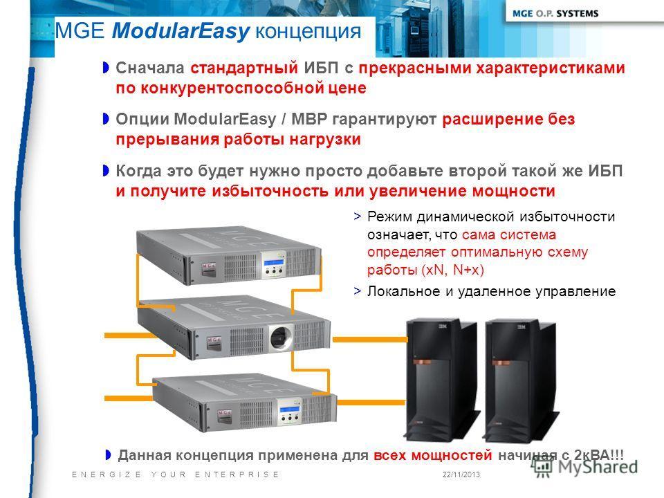 E N E R G I Z E Y O U R E N T E R P R I S E22/11/2013 MGE ModularEasy концепция Данная концепция применена для всех мощностей начиная с 2кВА!!! Сначала стандартный ИБП с прекрасными характеристиками по конкурентоспособной цене Опции ModularEasy / MBP