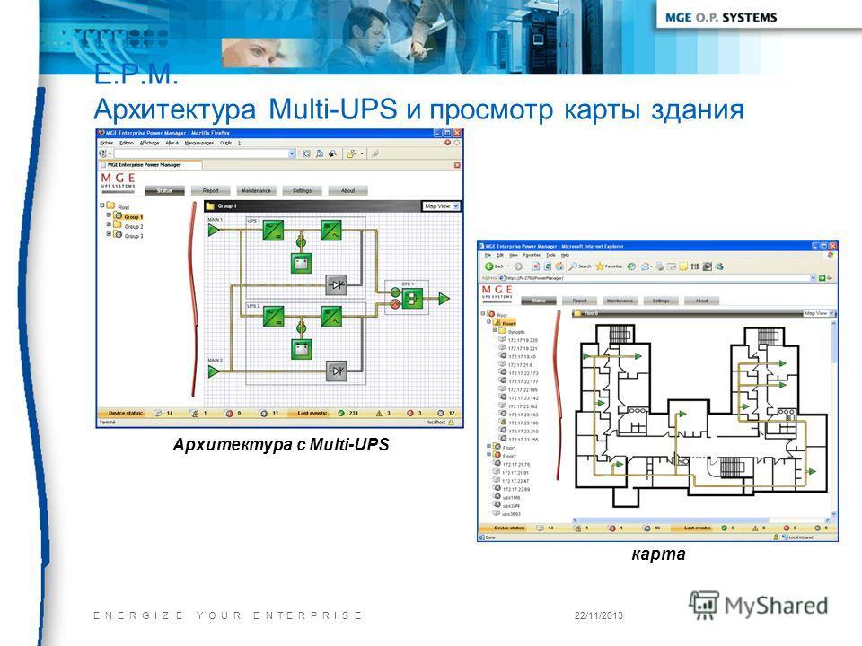 E N E R G I Z E Y O U R E N T E R P R I S E22/11/2013 Архитектура с Multi-UPS карта E.P.M. Архитектура Multi-UPS и просмотр карты здания