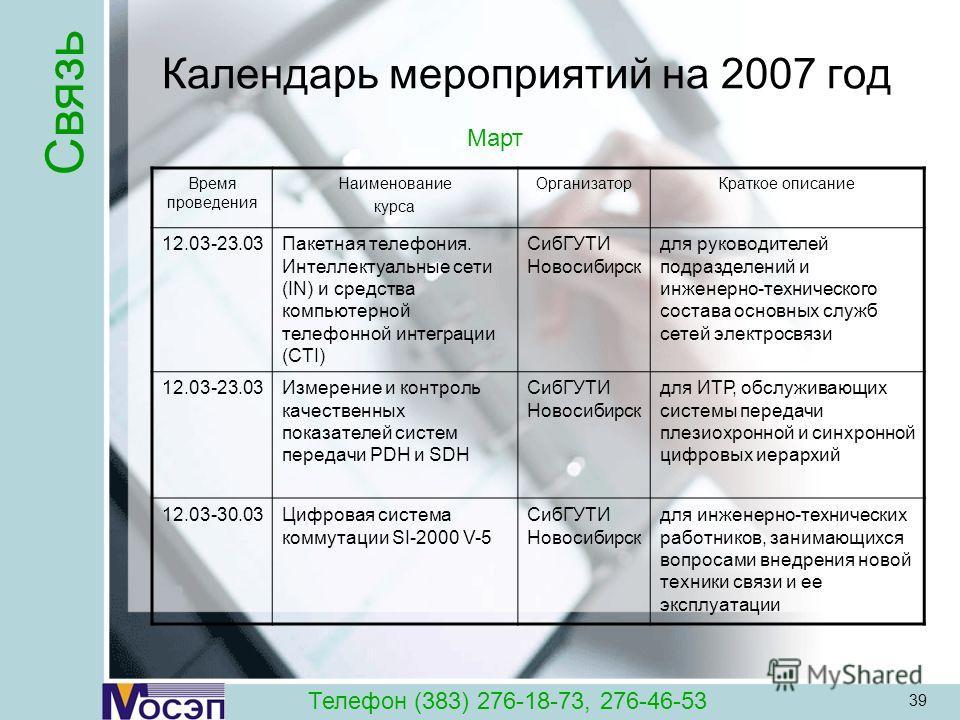 39 Календарь мероприятий на 2007 год Время проведения Наименование курса ОрганизаторКраткое описание 12.03-23.03Пакетная телефония. Интеллектуальные сети (IN) и средства компьютерной телефонной интеграции (CTI) СибГУТИ Новосибирск для руководителей п