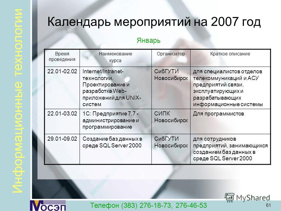 61 Календарь мероприятий на 2007 год Время проведения Наименование курса ОрганизаторКраткое описание 22.01-02.02Internet/Intranet- технологии. Проектирование и разработка Web- приложений для UNIX- систем СибГУТИ Новосибирск для специалистов отделов т