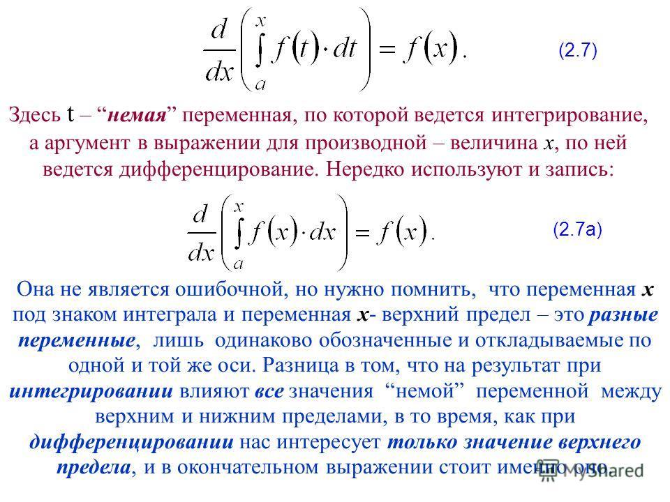 Здесь t – немая переменная, по которой ведется интегрирование, а аргумент в выражении для производной – величина x, по ней ведется дифференцирование. Нередко используют и запись: Она не является ошибочной, но нужно помнить, что переменная x под знако