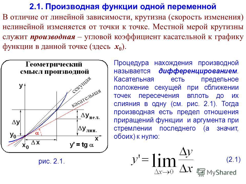 2.1. Производная функции одной переменной В отличие от линейной зависимости, крутизна (скорость изменения) нелинейной изменяется от точки к точке. Местной мерой крутизны служит производная – угловой коэффициент касательной к графику функции в данной