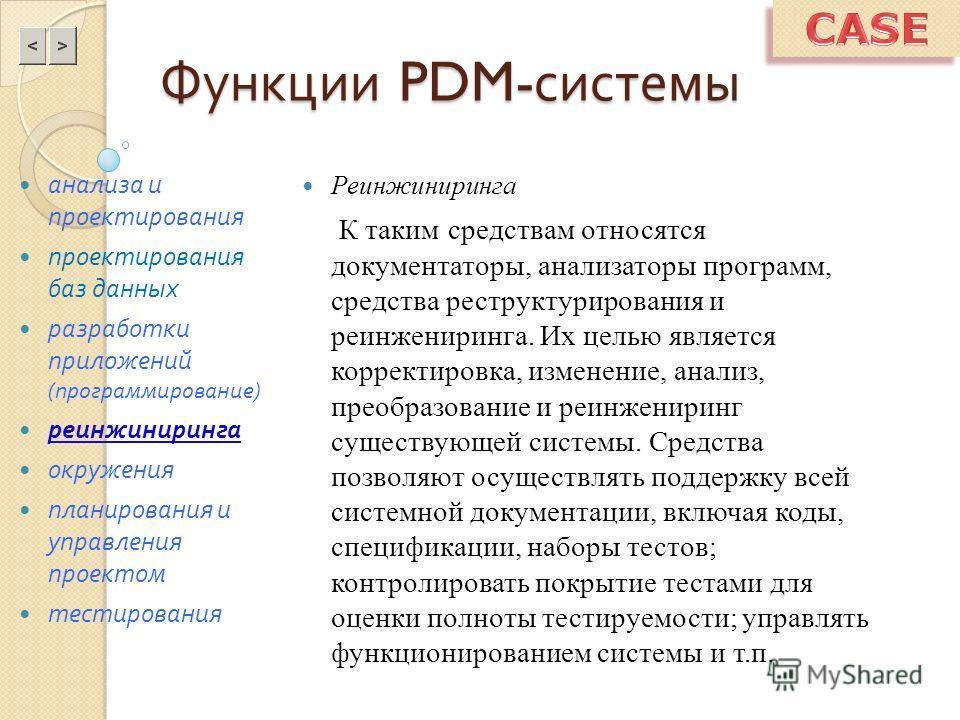 Функции PDM- системы Реинжиниринга К таким средствам относятся документаторы, анализаторы программ, средства реструктурирования и реинжениринга. Их целью является корректировка, изменение, анализ, преобразование и реинжениринг существующей системы. С