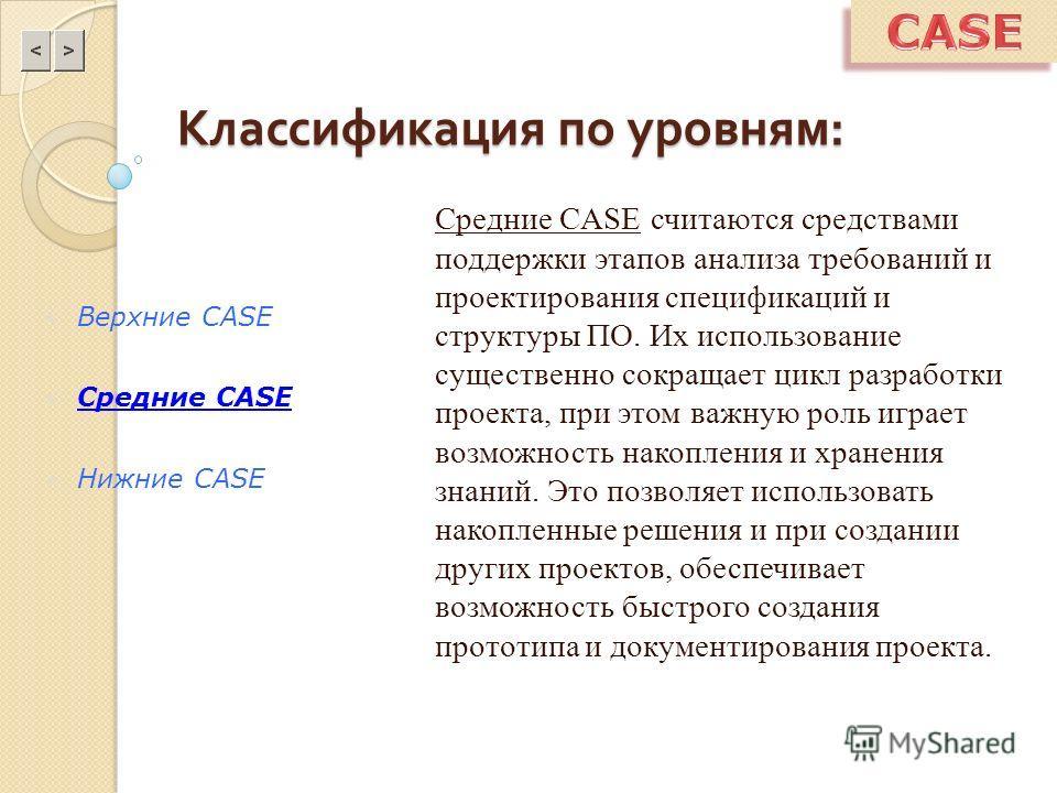 Классификация по уровням : Средние CASE считаются средствами поддержки этапов анализа требований и проектирования спецификаций и структуры ПО. Их использование существенно сокращает цикл разработки проекта, при этом важную роль играет возможность нак