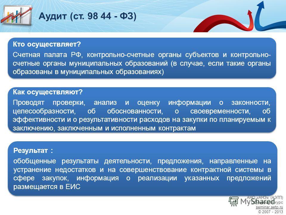 Аудит (ст. 98 44 - ФЗ) Результат : обобщенные результаты деятельности, предложения, направленные на устранение недостатков и на совершенствование контрактной системы в сфере закупок, информация о реализации указанных предложений размещается в ЕИС Рез