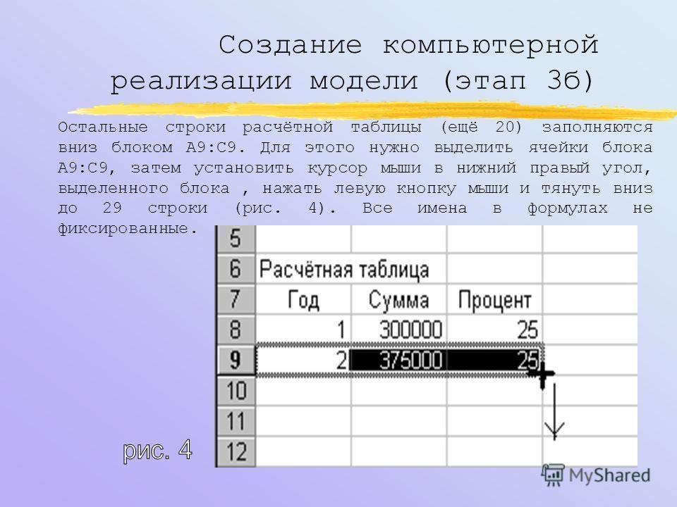 Создание компьютерной реализации модели (этап 3б) После внесения формул в 8-ую и 9-ую строки рабочая таблица примет вид, приведённый на рисунке 3: